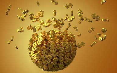 Exploding golden dollar symbols