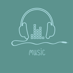 Headphones with cord and equalizer word Outline icon. Flat
