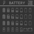 Set of battery charge level indicators. Trendy thin line - 80721304
