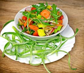 Fresh prepared salad - vegetarian food (vegan food)