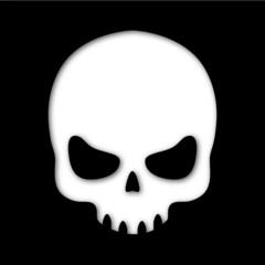Icono calavera recortado negro