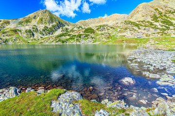 Stunning glacier lake and colorful stones,Retezat,Romania