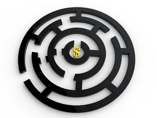 Dollar symbol in maze