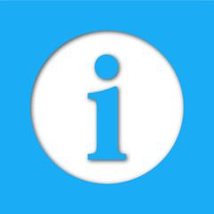 Icono informacion recortado azul