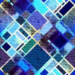 Blue geometric manuscript pattern