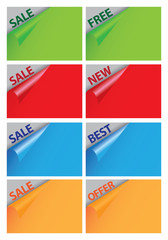 Colored papers with peeling page corner and sale messages.