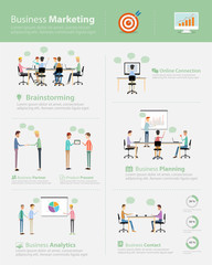 infographic business marketing team on work process
