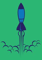 Cartoon Vector Illustration of Rocket Launch