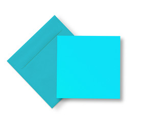 Blue envelope and card on white