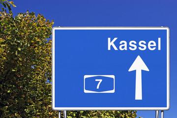 Schild A7 Richtung Kassel