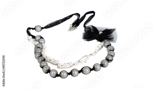 Modern black and white  necklace - 80722500