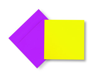 Violet envelope and yellow card on white