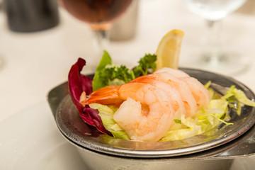 Boiled Shrimp on Bed of Lettuce