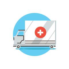 Ambulance car flat line icon concept