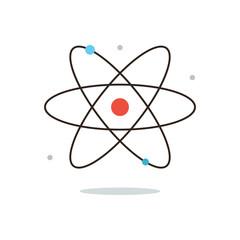 Model of atom flat line icon concept
