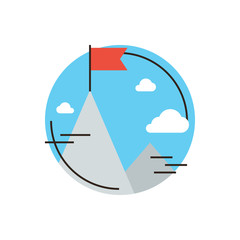 Success mission flat line icon concept