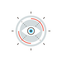 Business vision flat line icon concept