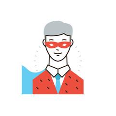 Businessman superhero flat line icon concept