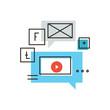 Social media marketing flat line icon concept