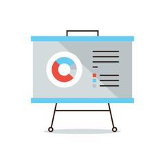 Presentation infographic flat line icon concept