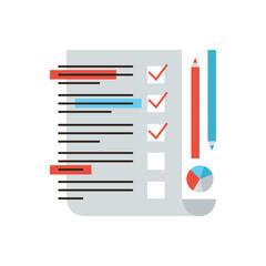 Survey market flat line icon concept