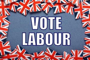 Vote Labour Election reminder with union jack flags