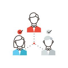 Organization of teamwork flat line icon concept