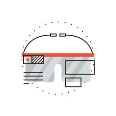 Virtual reality goggles flat line icon concept