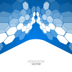 Abstract blue background hexagon. Vector Illustration