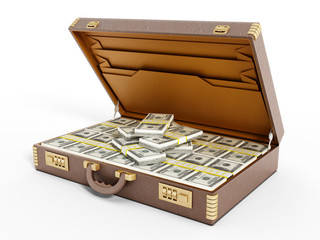 Open vintage briefcase full of money