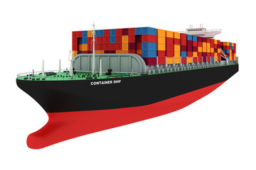 3d cargo container ship on white background