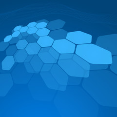 Abstract blue background hexagon. Vector