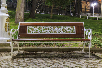 bench in the Gulhane Park in Istanbul