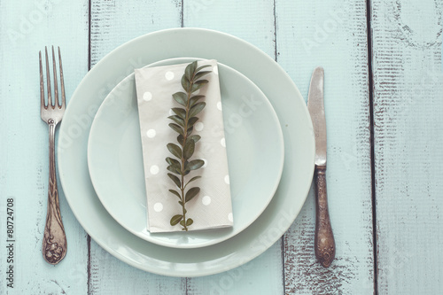 Shabby chic table setting - 80724708