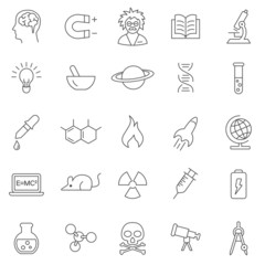 Science line icons set.Vector