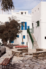 Classical Greek architecture of the streets - stairs, balconies,