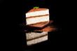 Tiramisu dessert isolated on black.