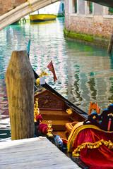 Traditional Italian Gondolas on Grand Canal in Venice