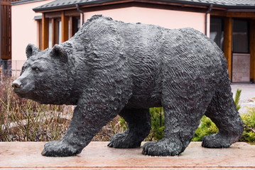 Statue of a brown bear