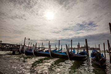 Row of gondolas in Venice
