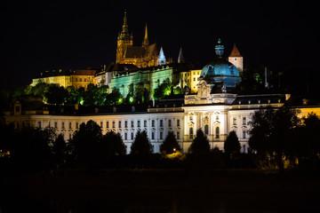 Illuminated buildings of Prague at night