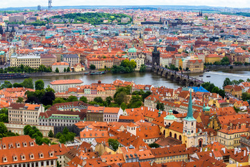 View from above over Prague