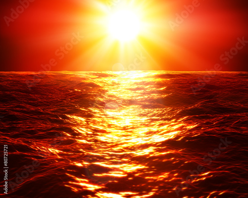 red sunset over sea - 80725721