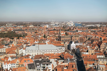 Overview of City of Bruges on Sunny Day