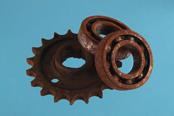 Gear wheels and cogs. Chromakey background,