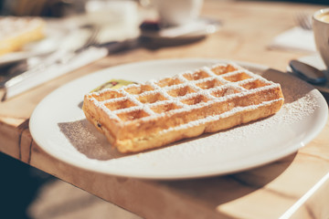 Waffle Dusted with Icing Sugar on Plate