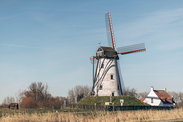 Windmill and farmhouse in a rural landscape