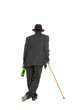 alcoholic leaning on the cane