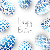 Easter blue eggs on white