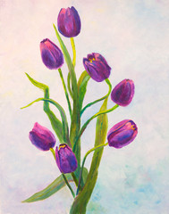 The violet tulips oil painting on canvas